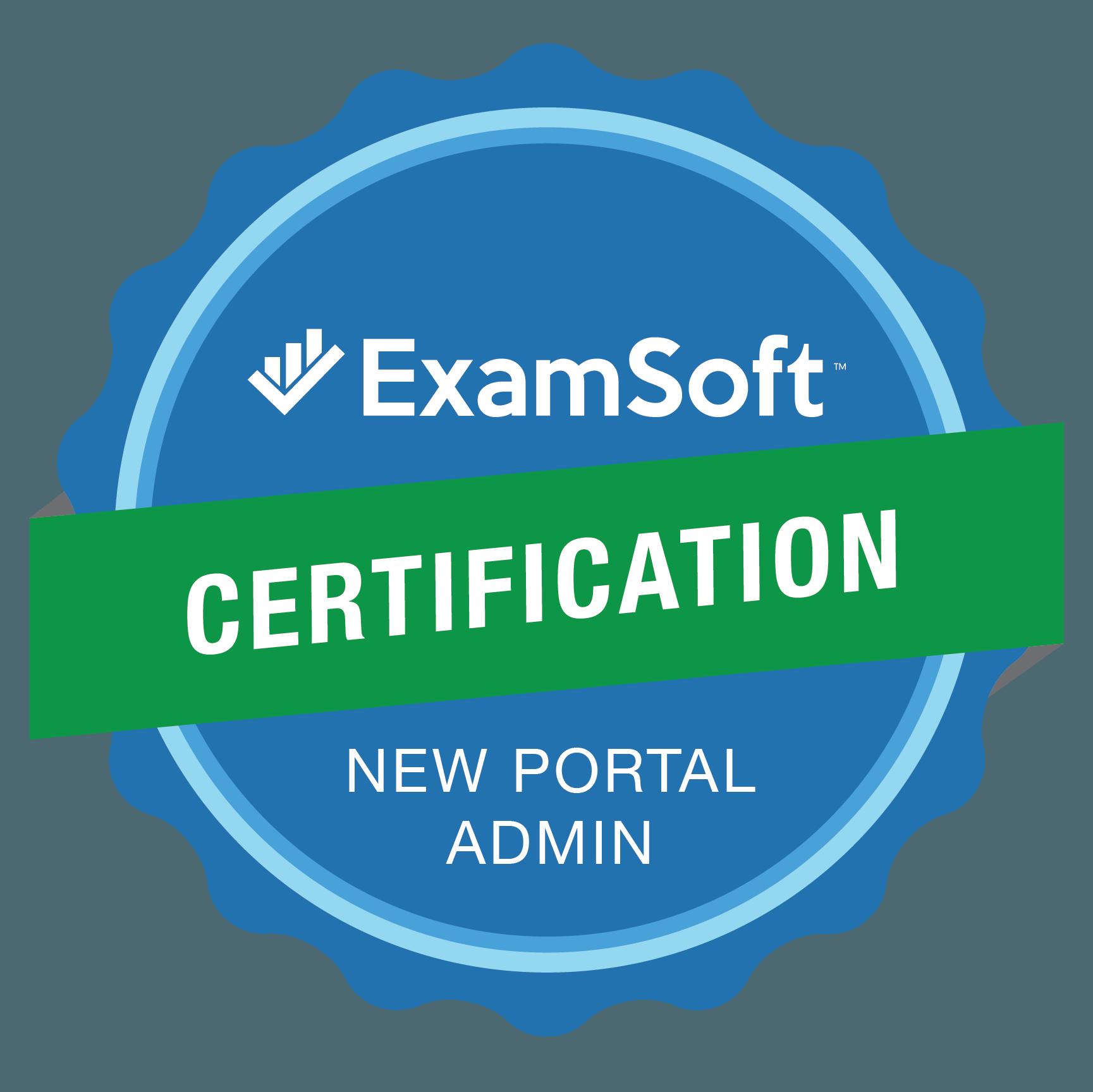 The ExamSoft Certification New Portal Admin Program Badge